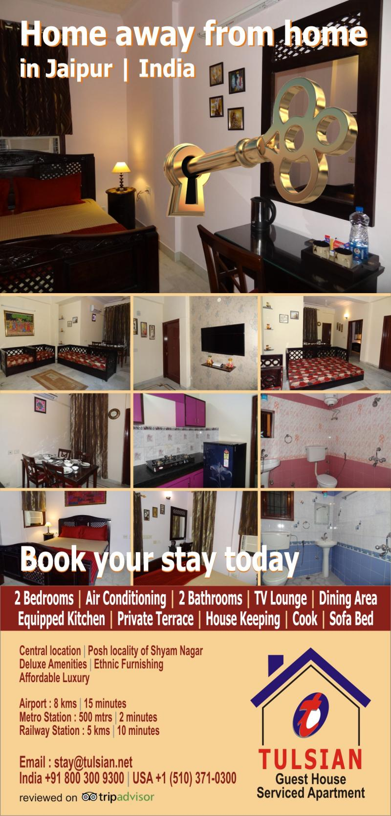 Tulsian Guest House, Seviced Appartment, Jaipur, India, Affordable Luxury